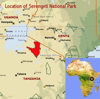 Map of Serengeti, Altitude & Temperature