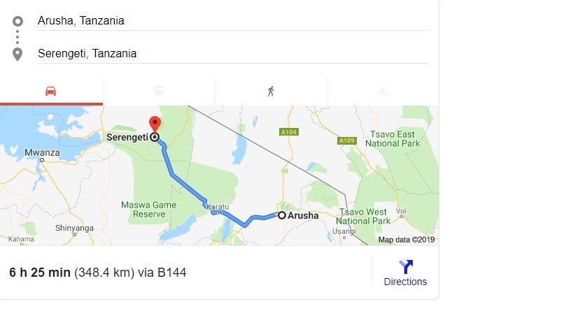 Distance from Arusha to Serengeti